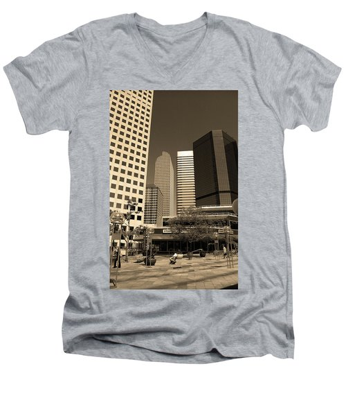 Men's V-Neck T-Shirt featuring the photograph Denver Architecture Sepia by Frank Romeo