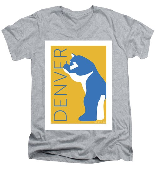 Denver Blue Bear/gold Men's V-Neck T-Shirt
