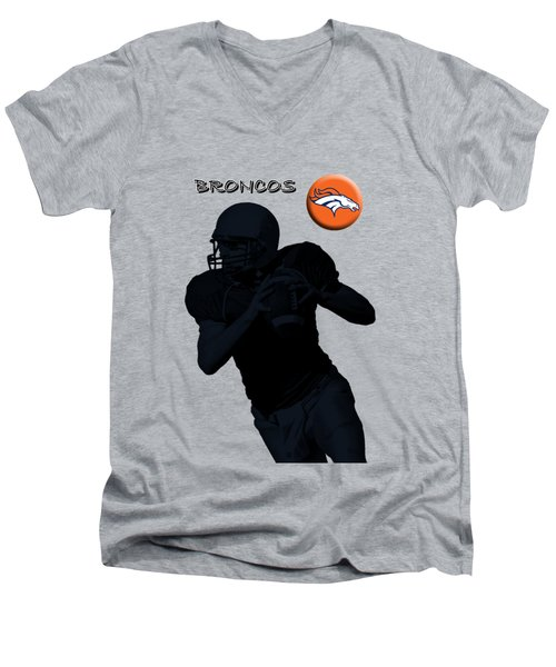 Denver Broncos Football Men's V-Neck T-Shirt by David Dehner