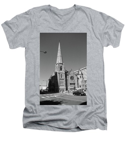 Denver Downtown Church Bw Men's V-Neck T-Shirt by Frank Romeo