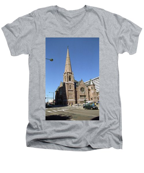 Men's V-Neck T-Shirt featuring the photograph Denver Downtown Church by Frank Romeo