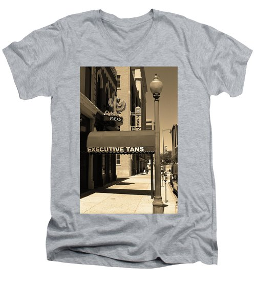 Men's V-Neck T-Shirt featuring the photograph Denver Downtown Storefront Sepia by Frank Romeo