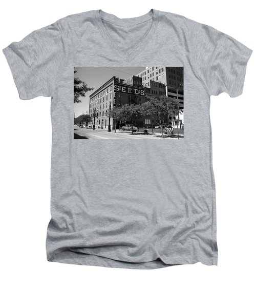 Denver Downtown Warehouse Bw Men's V-Neck T-Shirt by Frank Romeo
