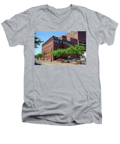 Men's V-Neck T-Shirt featuring the photograph Denver Downtown Warehouse by Frank Romeo