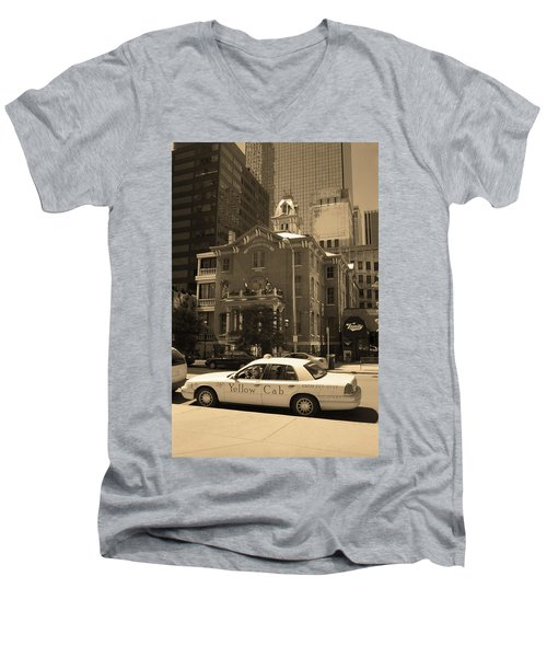 Men's V-Neck T-Shirt featuring the photograph Denver Downtown With Yellow Cab Sepia by Frank Romeo