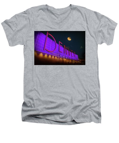 Denver Pavilion At Night Men's V-Neck T-Shirt by Kristal Kraft