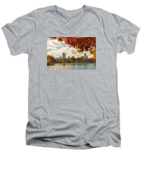 Denver Skyline Fall Foliage View Men's V-Neck T-Shirt