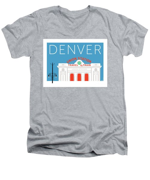 Denver Union Station/blue Men's V-Neck T-Shirt