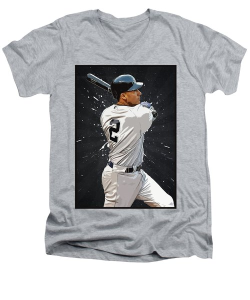 Derek Jeter Men's V-Neck T-Shirt by Semih Yurdabak