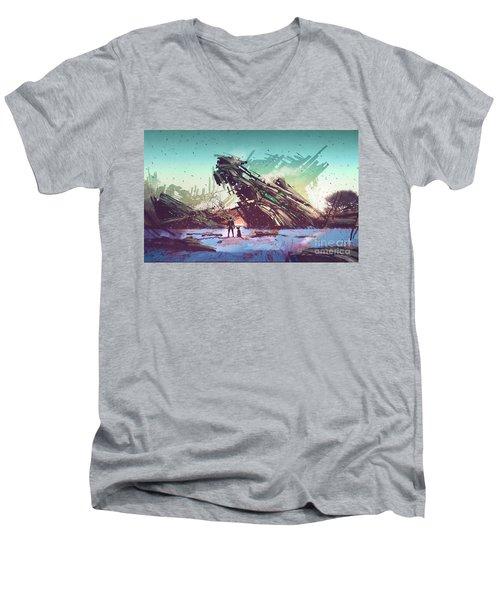 Derelict Ship Men's V-Neck T-Shirt