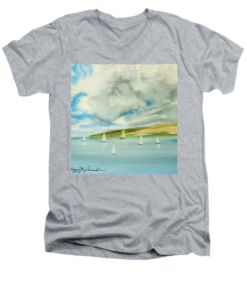 Dark Clouds Threaten Derwent River Sailing Fleet Men's V-Neck T-Shirt