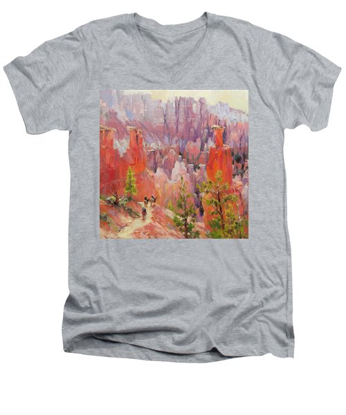 Men's V-Neck T-Shirt featuring the painting Descent Into Bryce by Steve Henderson