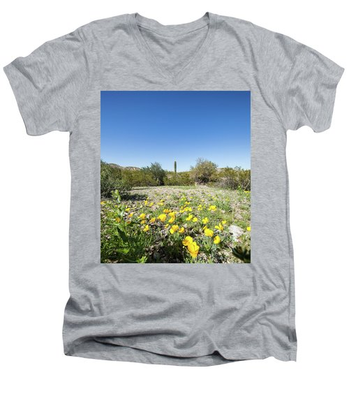 Men's V-Neck T-Shirt featuring the photograph Desert Flowers And Cactus by Ed Cilley
