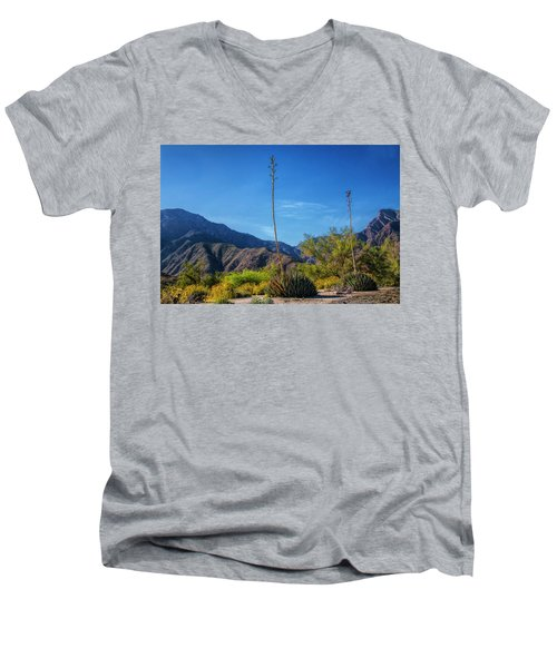 Men's V-Neck T-Shirt featuring the photograph Desert Flowers In The Anza-borrego Desert State Park by Randall Nyhof