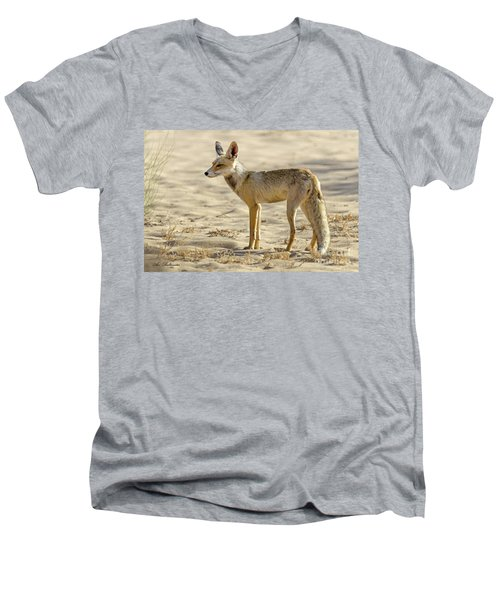 Men's V-Neck T-Shirt featuring the photograph desert Fox 02 by Arik Baltinester