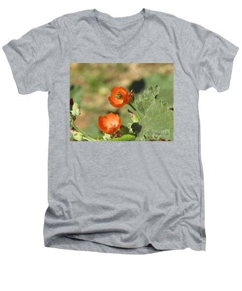 Desert Globemallow Blooms 227 Men's V-Neck T-Shirt