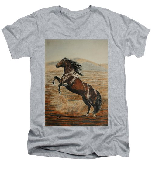 Men's V-Neck T-Shirt featuring the drawing Desert Horse by Melita Safran