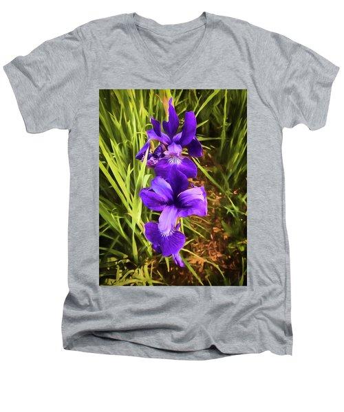 Men's V-Neck T-Shirt featuring the photograph Desert Iris by Penny Lisowski