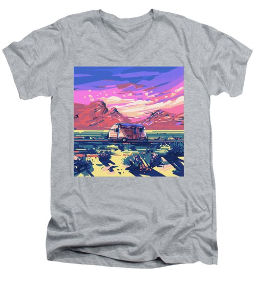 Desert Landscape Men's V-Neck T-Shirt by Bekim Art