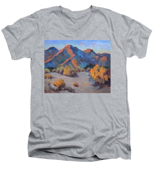 Men's V-Neck T-Shirt featuring the painting Desert Light by Diane McClary