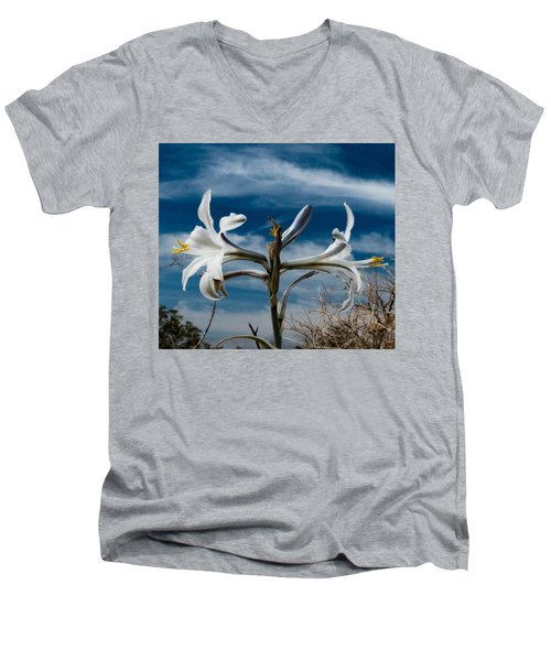 Men's V-Neck T-Shirt featuring the photograph Desert Lilly Close Up by Jeremy McKay