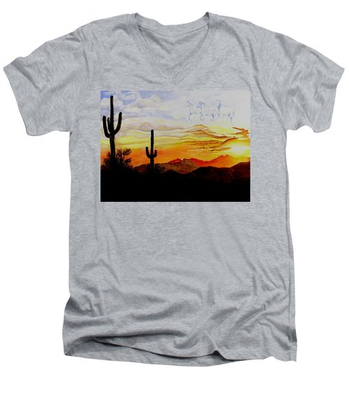 Desert Mustangs Men's V-Neck T-Shirt