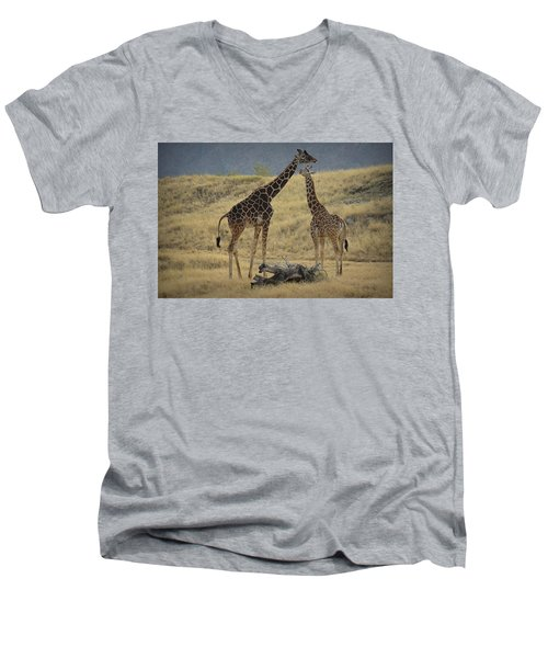 Men's V-Neck T-Shirt featuring the photograph Desert Palm Giraffe by Guy Hoffman