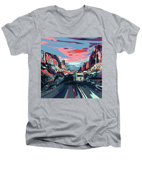 Desert Road Landscape Men's V-Neck T-Shirt by Bekim Art