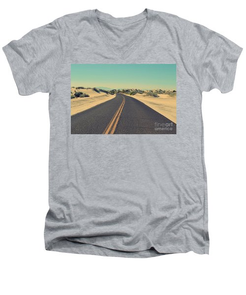 Men's V-Neck T-Shirt featuring the photograph Desert Road by MGL Meiklejohn Graphics Licensing