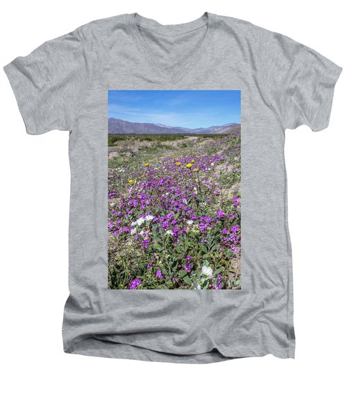 Men's V-Neck T-Shirt featuring the photograph Desert Super Bloom by Peter Tellone