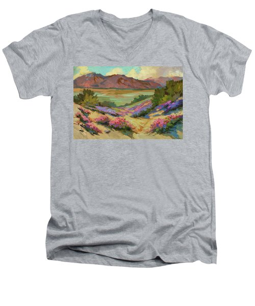 Desert Verbena At Borrego Springs Men's V-Neck T-Shirt