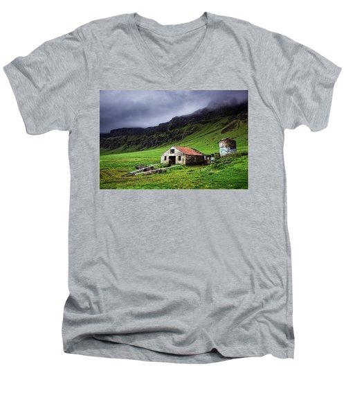 Deserted Barn In Iceland Men's V-Neck T-Shirt