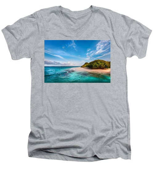 Men's V-Neck T-Shirt featuring the photograph Deserted Maldivian Island by Jenny Rainbow
