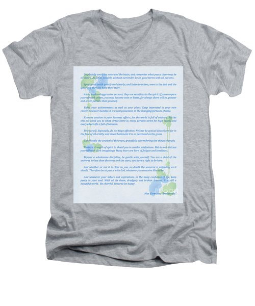 Desiderata In Blue Men's V-Neck T-Shirt by Olga Hamilton