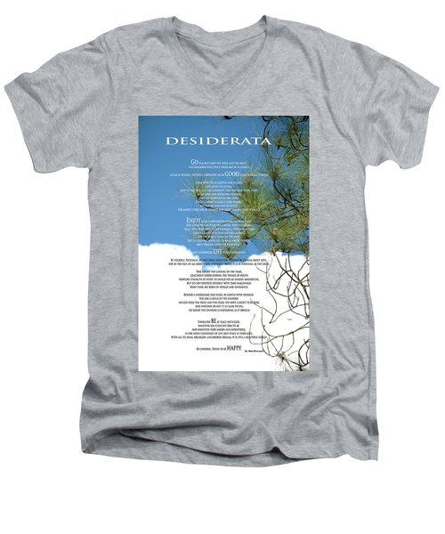 Desiderata Poem Over Sky With Clouds And Tree Branches Men's V-Neck T-Shirt