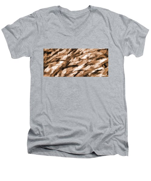 Designer Camo In Beige Men's V-Neck T-Shirt