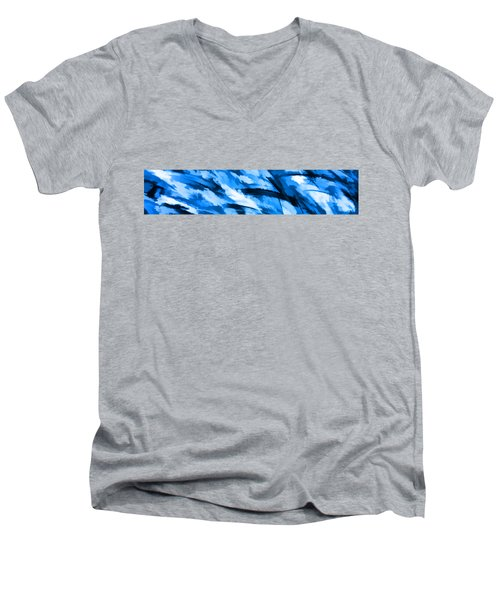 Designer Camo In Blue Men's V-Neck T-Shirt