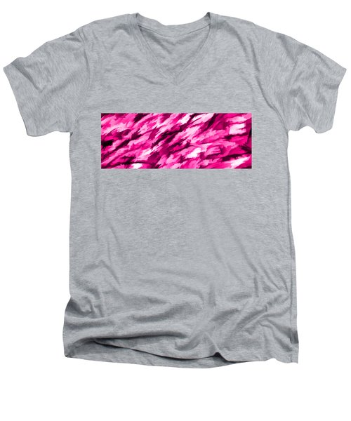 Designer Camo In Hot Pink Men's V-Neck T-Shirt
