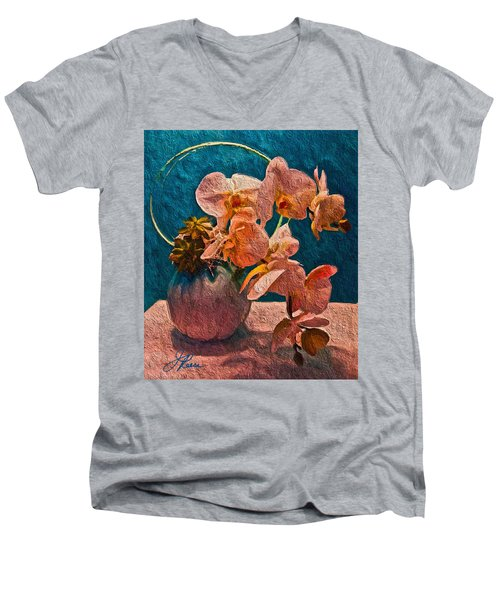 Designer Floral Arrangement Men's V-Neck T-Shirt by Joan Reese