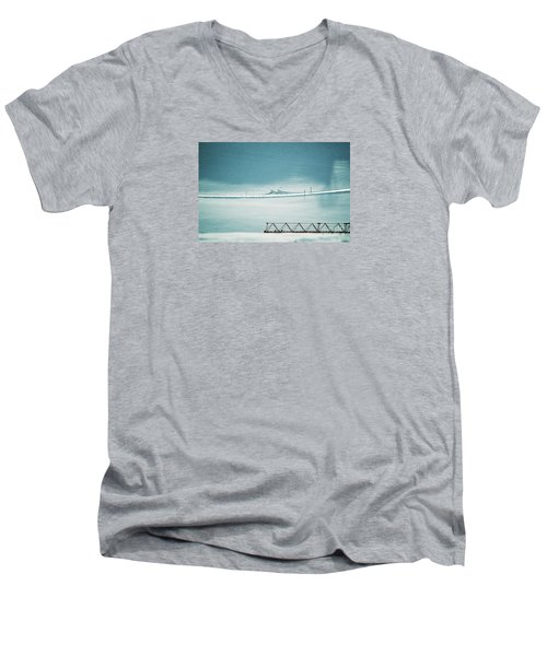 Men's V-Neck T-Shirt featuring the photograph Designs And Lines - Winter In Switzerland by Susanne Van Hulst