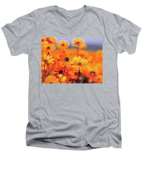 Details In Orange Men's V-Neck T-Shirt