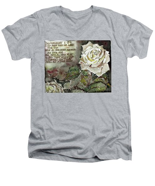 Men's V-Neck T-Shirt featuring the painting Deuteronomy 6 by Mindy Newman