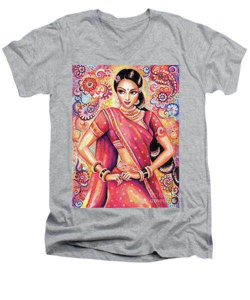 Men's V-Neck T-Shirt featuring the painting Devika Dance by Eva Campbell