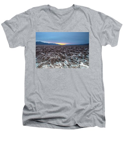 Men's V-Neck T-Shirt featuring the photograph Devil's Golf Course  by Catherine Lau