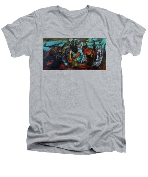 Men's V-Neck T-Shirt featuring the painting Devils Gorge by Christophe Ennis