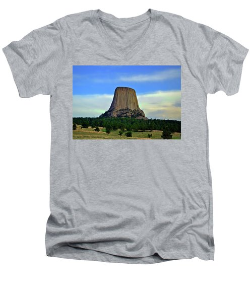 Men's V-Neck T-Shirt featuring the photograph Devils Tower 002 by George Bostian
