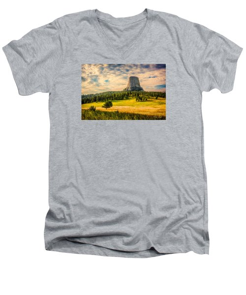 Men's V-Neck T-Shirt featuring the photograph Devil's Tower - The Other Side by Rikk Flohr