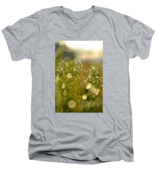 Men's V-Neck T-Shirt featuring the photograph Dew Droplets by Nikki McInnes