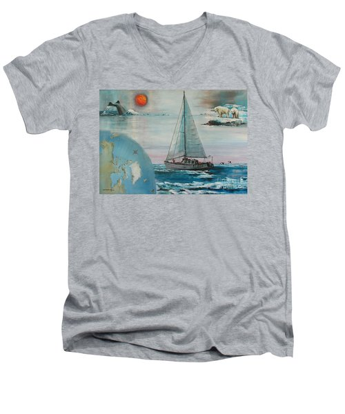 Ireland Canada Links..'' Northabout '' Rounding The North West Passage Men's V-Neck T-Shirt