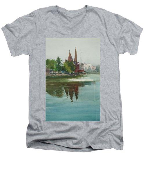 Dhanmondi Lake 04 Men's V-Neck T-Shirt by Helal Uddin